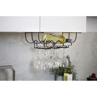 Rangement de placard cuisine - Porte bouteilles et verre - Noir