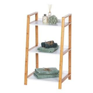 Etagère de salle de bain en bambou Finja - L. 43 x H. 76 cm - Blanc