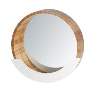 Miroir avec compartiment scandi Finja - Diam. cm - Blanc