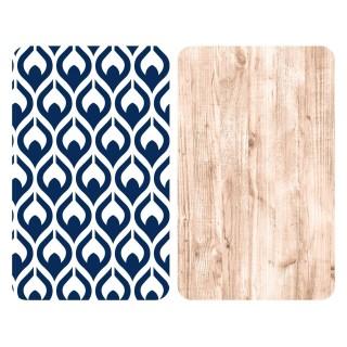 2 Couvre-plaques universel Fancy - 30 x 52 cm - Bleu et marron