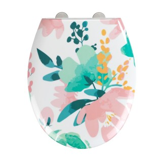 Abattant WC design Flowery - Abaissement automatique - Duroplast - Blanc