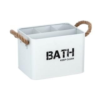 Boîte de rangement compartimentée salle de bain Gara - L. 19 x H. 12 cm - Blanc