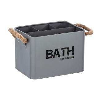 Boîte de rangement compartimentée salle de bain Gara - L. 19 x H. 12 cm - Gris
