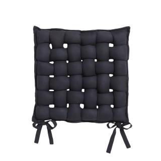 Galette de chaise Tressée - 40 x 40 cm - Noir réglisse