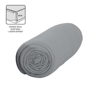 Drap housse Zinc - 100% coton 57 fils - Bonnet 30 cm - 160 x 200 cm - Gris clair