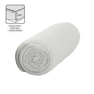 Drap housse Chantilly - 100% coton 57 fils - Bonnet 30 cm - 180 x 200 cm - Blanc