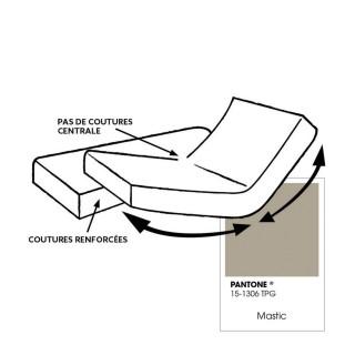 Drap housse pour lit articulé - 100% coton - Bonnet 30 cm - 2x80 x 200 cm - Taupe