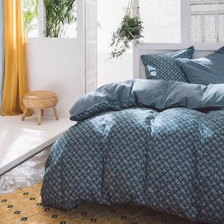 Parure de lit 3 Pièces bord de mer Java - Coton 51 fils - 220 x 240 cm - Bleu