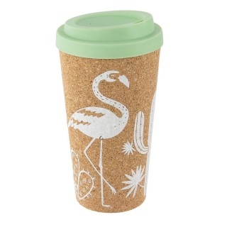 Mug de transport en liège Exotic - 450 ml - Vert d'eau
