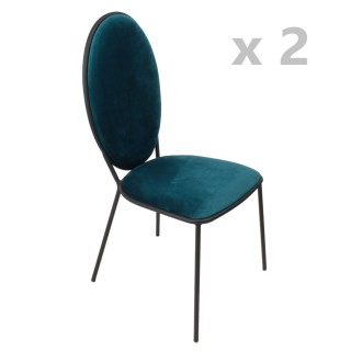 Lot de 2 Chaises en velours Louis - Bleu emeraude