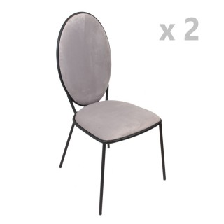 Lot de 2 Chaises en velours Louis - Gris clair
