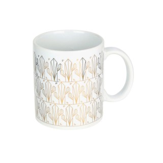 Mug design cactus Art Déco - 300 ml - Blanc