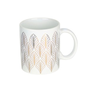 Mug design feuille Art Déco - 300 ml - Blanc