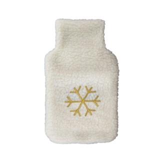 Bouillotte en laine brodée flocon Winter - 1 L - Blanc