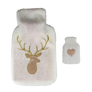 Bouillotte en laine brodée avec chaufferette cerf Winter - 2 L - Blanc