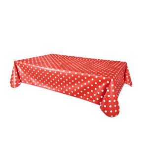 Nappe en toile cirée rectangulaire vintage poids Aline - L. 140 x l. 240 cm - Rouge