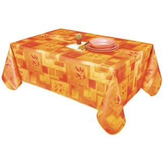 Nappe en toile cirée rectangulaire provençale Bombay - L. 140 x l. 240 cm - Orange