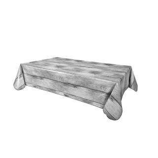 Nappe en toile cirée rectangulaire effet bois Planche - L. 140 x l. 240 cm - Gris