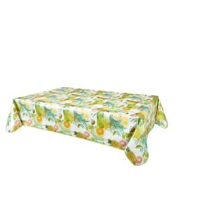 Nappe en toile cirée rectangulaire tropicale Caraibes - L. 140 x l. 240 cm - Vert