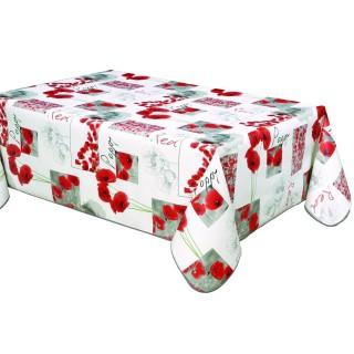 Nappe en toile cirée rectangulaire coquelicots Poppy - L. 140 x l. 240 cm - Blanc