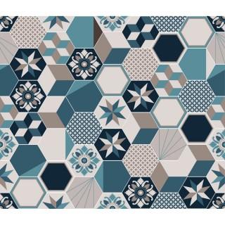 Crédence adhésive carreaux en aluminium Exa - L. 70 x l. 40 cm - Bleu