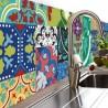 Crédence adhésive design en PVC Jade - L. 200 x l. 40 cm - Multicolore
