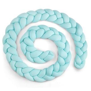 Coussin décoratif tressé Knot - Tour de lit bébé - L. 400 cm - Bleu menthe