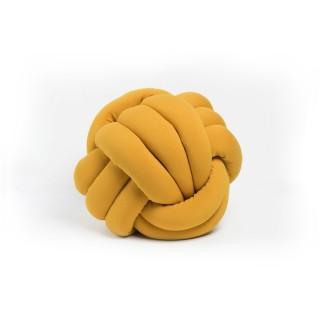 Coussin décoratif tressé Knot - Diam. 45 cm - Jaune moutarde