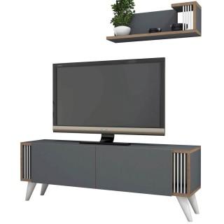 Meuble TV design avec étagère Nicol - L. 120 x H. 42 cm - Gris