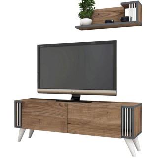 Meuble TV design avec étagère Nicol - L. 120 x H. 42 cm - Marron