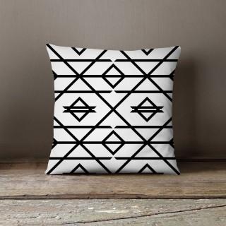 Coussin design dewey Black and White - L. 45 x l. 45 cm - Blanc