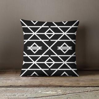 Coussin design dewey Black and White - L. 45 x l. 45 cm - Noir