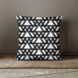 Coussin lowell bryce Black and White - L. 45 x l. 45 cm - Blanc