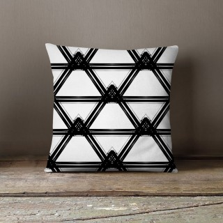 Coussin lowell duncan Black and White - L. 45 x l. 45 cm - Blanc