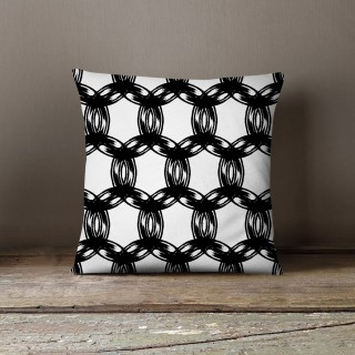 Coussin lowell cara Black and White - L. 45 x l. 45 cm - Blanc