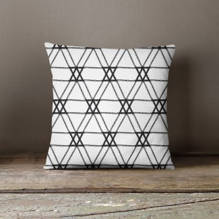 Coussin lowell lena Black and White - L. 45 x l. 45 cm - Blanc