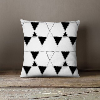 Coussin lowell dustin Black and White - L. 45 x l. 45 cm - Blanc