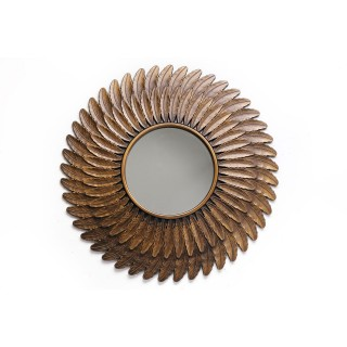 Miroir en métal design Plume - Diam. 61 cm - Couleur cuivre