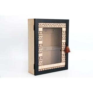 Boîte à clés ethnique Zalou -L. 20 x H. 28 cm - Marron