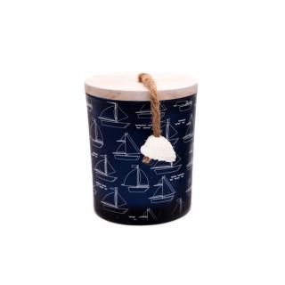 Bougie en pot Thème Mer - Bleu foncé