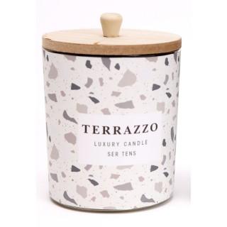 Bougie en pot effet Terrazzo - Blanc