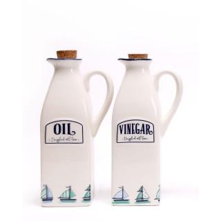 Set bouteilles d'huile d'olive et vinaigre Thème Mer - Bateau