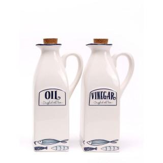 Set bouteilles d'huile d'olive et vinaigre Thème Mer - Poisson