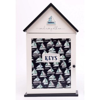 Boîte à clés Thème Mer - L. 17 x H. 26 cm - Bleu foncé
