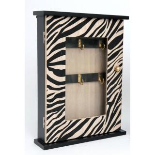Boîte à clés zèbre Savane - L. 22 x H. 30 cm - Noir