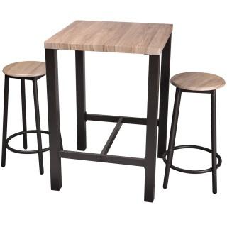 Table bar avec tabourets indus Dock - Noir