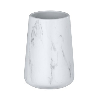 Gobelet de salle de bain effet marbre Adrada - Blanc