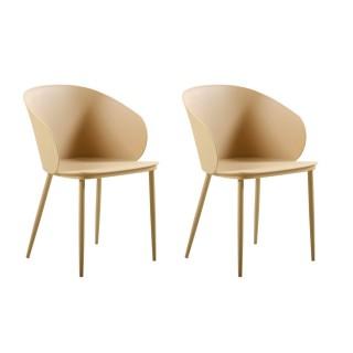 2 Chaises design Dalis - Beige doré