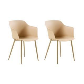 2 Chaises design Corona - Beige doré