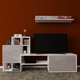 Meuble TV avec étagère design Rinaldo - L. 160 x H. 78 cm - Gris